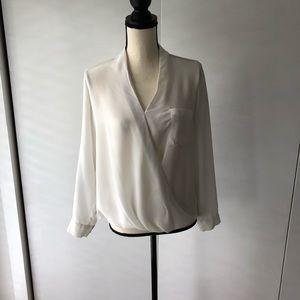 Topshop white wrap blouse